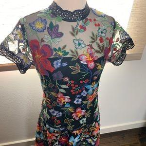 Vone Janine Embroidered Dress, Sz 4 Anthropologie
